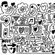 Hand draw love element hand draw love element — Stock vektor