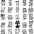 Hand draw cartoon cat icon - Stock Vector