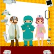 Cartoon doctor card cartoon doctor card — Stockvectorbeeld