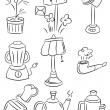 Hand draw home appliances cartoon icon — Stockvektor