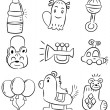Hand draw cartoon baby toy icon - 