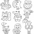 Hand draw cartoon summer animal icon - 