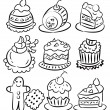 Hand draw cartoon cake icon — Stock Vector
