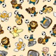 Royalty-Free Stock Vector Image: Seamless animal soccer pattern