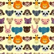 Seamless animal face pattern — Stock Vector #7862480
