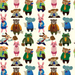 Seamless animal worker pattern — Stock Vector
