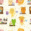 Seamless cute animal pattern - Stockvektor