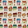 Seamless cartoon house pattern — Stock Vector