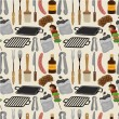 Cartoon barbeque party tool seamless pattern - Stock Vector