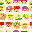 Cartoon flower fairy seamless pattern — Stock vektor