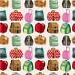 Cartoon bag set seamless pattern - Stock Vector