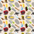 Stock Vector: Cartoon BBQ seamless pattern