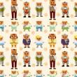 Stock Vector: Cartoon bear family icon set seamless pattern