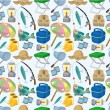 Cartoon Fishing seamless pattern - Stock Vector