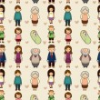 Seamless cartoon family pattern - 图库矢量图片