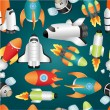 Seamless spaceship pattern - Stock Vector