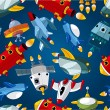 Seamless spaceship pattern - Stockvektor
