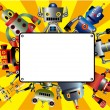 Cartoon robot card - Stock Vector