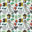 Stock Vector: Cartoon bicycle equipment seamless pattern