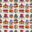 Cartoon Chinese house seamless pattern — Stock Vector