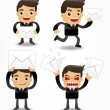 Set of funny cartoon office worker with email icon — Stock Vector