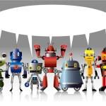 Cartoon robot card — Stock Vector #7863366