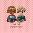 Vector de stock : Cartoon retro car card