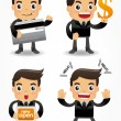 Stock Vector: Funny cartoon office worker with sale Promotions icon set