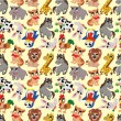 Stock Vector: Cartoon animal seamless pattern