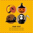 Vector de stock : Cartoon Halloween party card