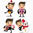 Set of funny cartoon office worker with xmas element — Stock Vector