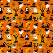 Stock Vector: Cartoon Halloween seamless pattern