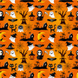 Cartoon Halloween seamless pattern — Stock Vector
