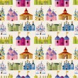 Cartoon Fairy tale castle seamless pattern — Vector de stock