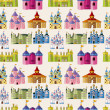 Vetorial Stock : Cartoon Fairy tale castle seamless pattern