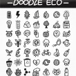 Stock Vector: Cartoon doodle eco icon set