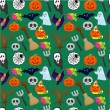 Cartoon Halloween seamless pattern — Stock Vector