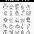 Cartoon baby doodle icon set — Stock Vector
