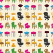 Chair furniture seamless pattern — Stock Vector
