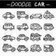 Doodle cartoon car icon set — Stock Vector