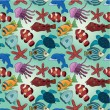 Cartoon fish seamless pattern - Stock Vector