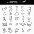 Hand draw child toy icons set — Stock Vector