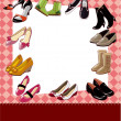 Stock Vector: Fashion shoe sale card