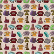 Royalty-Free Stock Vector Image: Funny retro cartoon phone seamless pattern