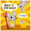 Stock Vector: Cartoon mouse friend birthday card