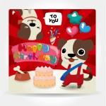 Birthday card, dog friends. — Stock Vector