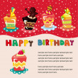 Cartoon cake birthday card — Stock Vector