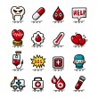 Hand draw cartoon Medical and Hospital icons set — Stock Vector