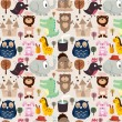 Cartoon animal seamless pattern - Stock Vector