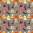 Cartoon Halloween seamless pattern — Vettoriali Stock
